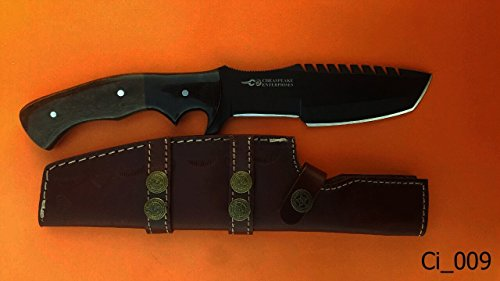 Chesapeake Knives Hand Made Hunting Knife Black colored Steel with Dyed Bone Handle.