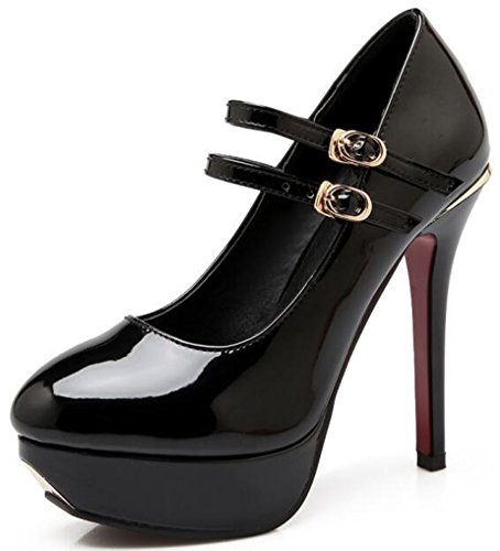 IDIFU Womens Sexy Two Straps Platform High Stiletto Heels Low Top Buckle Pumps Shoes Black 2mcnEfT