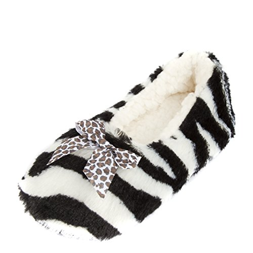 White Slippers Cozy Fleece Women's Animal Leisureland 5tfqXIw
