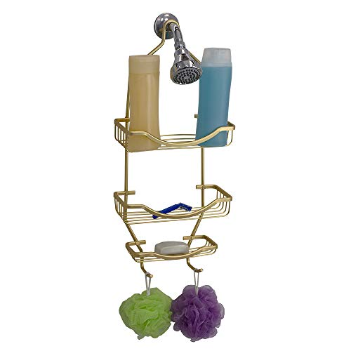Home Basics Rio 2 Tier Caddy Accessory Hooks for Loofah, Razors and Large Capacity Soap Tray, in-Shower Hanging Storage for Shampoo, Conditioner & Soap, Gold