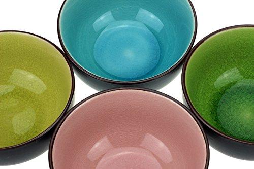 4 x Teeschalen, Matchaschale Set in 4 verschiedenen Farben