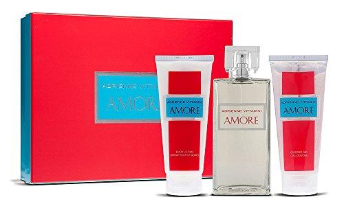 (Adrienne Vittadini Amore Gift Set for Women (Eau de Parfum, Lotion, Shower Gel))