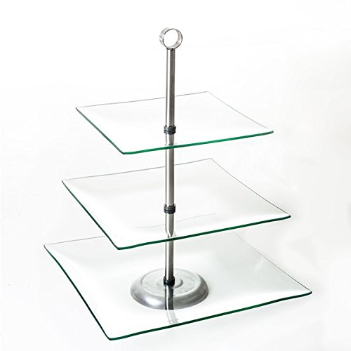 (Chef Buddy Three Tier Square Glass Buffet and Dessert Stand)