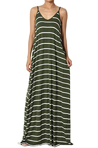 (TheMogan Women's Stripe V-Neck Draped Jersey Cami Long Maxi Dress Army Green L)
