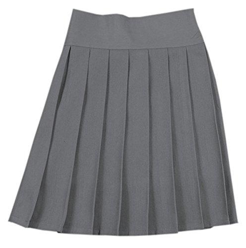 (Women's Elastic Waist Solid Plain Pleated School Uniform Cosplay Costume Skirt, Grey, Tag XXL = US XL)