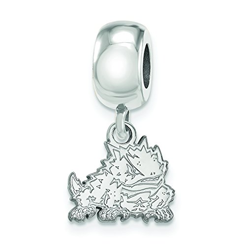 LogoArt Sterling Silver TCU Horned Frogs XS Dangle Bead Charm