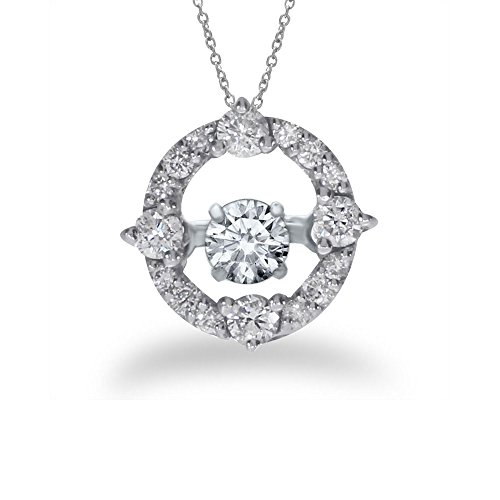 0.49 Ct Princess Shape - 0.49 Carat (ctw) 14k White Gold Round Diamond Women's Moving Circle Pendant with 18