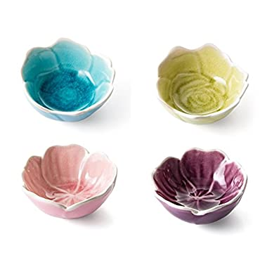 Astra Gourmet Flower Shape Sushi Dipping Bowls Appetizer Plates Ceramic Leaf Shape Porcelain Saucers Bowl Sauce Dishes, Set of 4(Assorted Color)