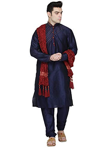Indian Kurta Pajama Stole 3- Pieces Set Handmade Long Sleeve Hook & Eye Shirt Pyjama Traditional Blue New Year Party Dress -L