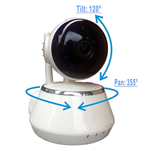 Zebora ZQF510 720P Remote Monitoring Surveillance Internet WiFi Wireless IP Security Camera, Baby Video Monitor or Pet Monitor with Motion Detection, Two-Way Audio and Night Vision