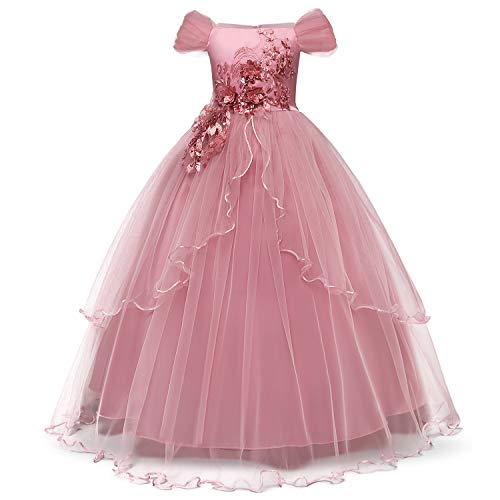 TTYAOVO Girls Applique Prom Gowns Luxury Wedding Birthday Party Princess Long Dresses Size(130) 7-8 Years Pink