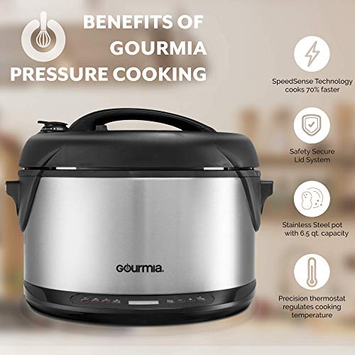 Gourmia GPS650 Multi-function 1-Hour Smoker, Pressure Cooker, Cooker and Qt Delay &