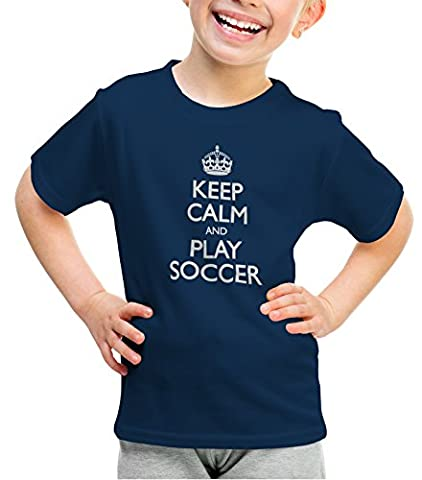 ShirtLoco Girls Keep Calm And Play Soccer Youth T-Shirt, Navy Blue Medium - Play Soccer T-shirt