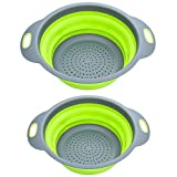 K-Home Collapsible Strainer and Colander Set BPA Free Food Grade Silicone (2 Sizes)