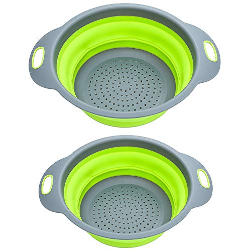 K-Home Collapsible Strainer and Colander Set BPA Free Food Grade Silicone (2 Sizes) by K-Home