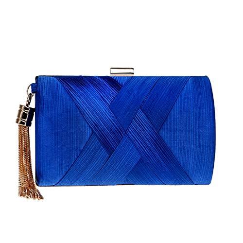 donna frizione Color Blue sera elegante da Borsa con Red da HxIw5PnqA6