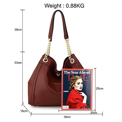 M Bolso The De Granate Fablookacc Rojo Mujer Piel Tela Para 6n65wzqgfx
