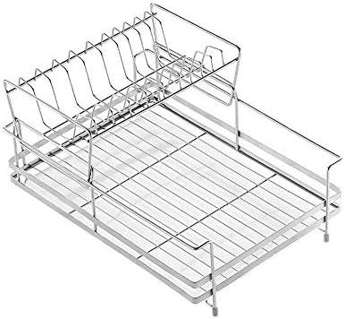 YKJ-YKJ キッチンの棚食器水切りステンレススチールラック2層シンク食器保存容器カトラリー乾燥棚 ドレンバスケット