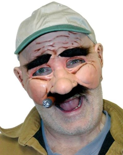 [Zagone Stan the Man Mask, Older Male with Cigar & Mustache] (Old Lady And Old Man Halloween Costumes)