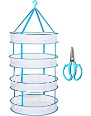 Herb Drying Rack, 4 Layer 2ft Herb Dryer, Hanging Rack Net with 1pc Garden Shearing for Plants Herb Seeds Garden Vegetables Flowers Fruits