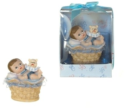 Baby in Basket Poly Resin - Blue, CASE OF 48