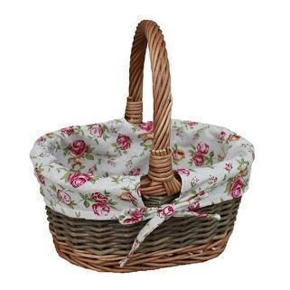 Small Garden Rose Lined Childs Country Oval Wicker Shopping Basket