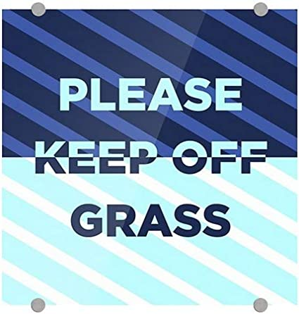 16x16 Please Keep Off Grass 5-Pack Stripes Blue Premium Brushed Aluminum Sign CGSignLab