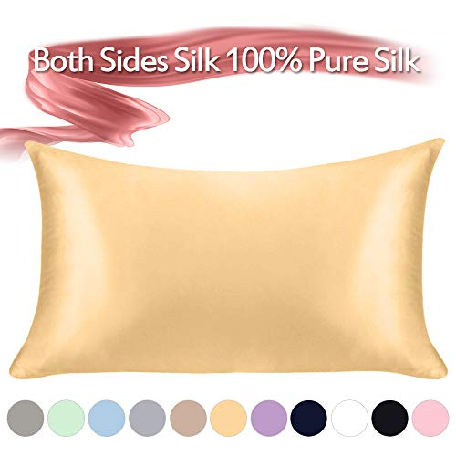 100% Mulberry Silk Pillowcase Pure,21 Momme Both Side Real Silk Pillowcases  Hidden Zippered Slip Silk Pillowcase Hypoallergenic Soft Breathable for