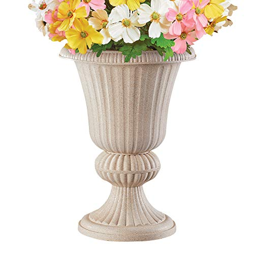 Classic Stone-Like Planter with Pedestal Base - Home or Garden Decorative Accent