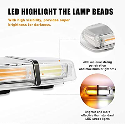Auxbeam White & Amber Emergency Light Bar LED Roof Top Mini Bar Enforcement Hazard Beacon Caution Warning Flash Strobe Light with Magnetic Base: Automotive