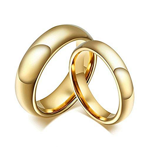 DOMILINA 18k Gold Plated High Polished Comfort Fit Domed Tungsten Ring 6mm/4mm Wedding Band Size 8
