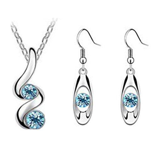 - Women Princess Bride Bridesmaid Romantic Wedding Creative Necklace+Earring Set (Blue)