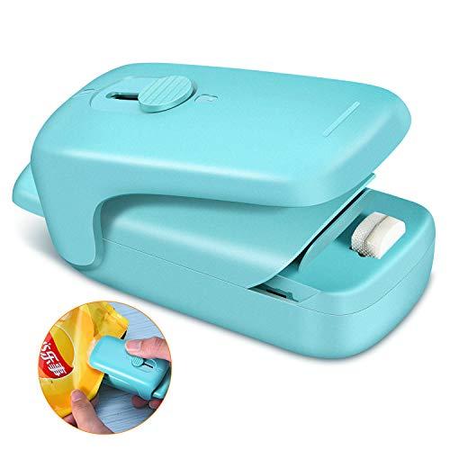 Bag Sealer, Alitake Mini Bag Resealer Handheld Heat Sealer Potato Chip Bag Sealer with Blade and Refrigerator Magnet for Plastic Bag (Battery Not Included)