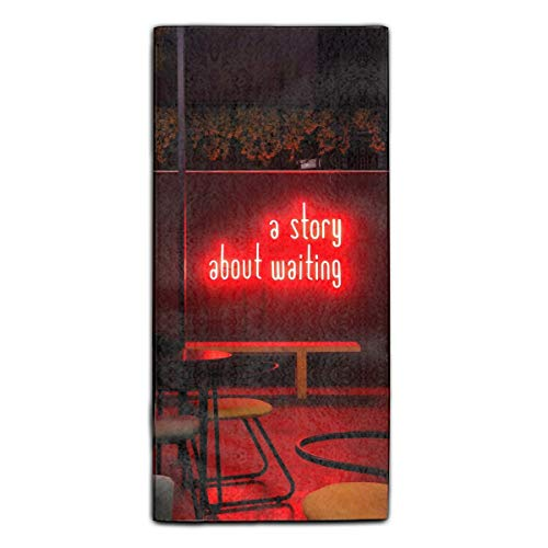 Neon Inscription Cafe Text Waiting Microfiber Cleaning Cloths | Best Towels For House-Hold Cleaning, Dusting, Scrubbing, Absorbing | size 11.8 X 27.5 Inches