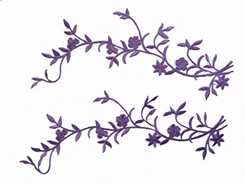 Two simple Sakura Flowers Iron on Embroidered Appliques Patch Japanese Chinese (Purple)