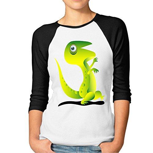 DonSir Running Dinosaur Women Baseball Raglan Tshirt Black XXL]()