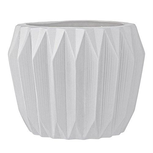 Bloomingville Round Ceramic Fluted Flower Pot, Large, White by Bloomingville