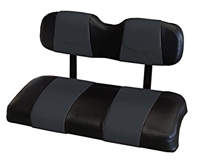 Kool Cushions EZGOTXT-BKECSTFR-01 -Custom Vinyl Golf Cart Seat Covers Front Frontand Rear-Black With Eclipse Stripe - For EZ_GO TXT Golf Cart
