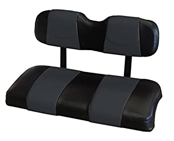 Kool Cushions CCDS2UP-BKECSTFR-01 -Custom Vinyl Golf Cart Seat Covers Front Frontand Rear-Black With Eclipse Stripe - For Club Car DS 2000 and UP Golf Cart