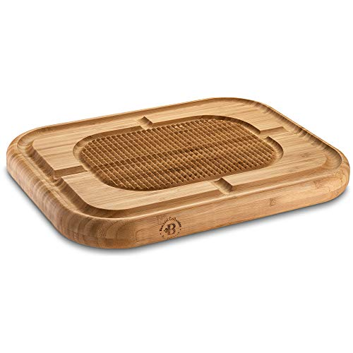 """Premium Bamboo Large Carving Cutting Board with Juice Groove, Meat Board Pyramid Design Wood Steak Board Chopping Board, Serving Board Stabilizes Beef and Poultry While Carving, 13.25"""" x 17.5"""" Inches (Wooden Carving Board)"""