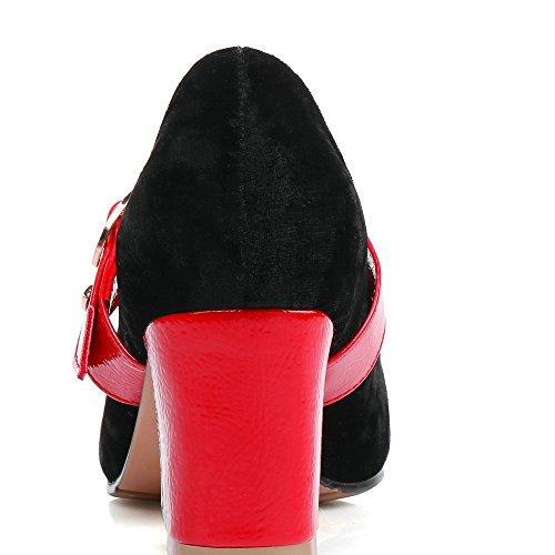 Tacchi Scarpe Mary Della Nero Da Aiweiyi Fibbia Cinghia Piattaforma Della Alti Donna Quadrati Janes wtUndBq