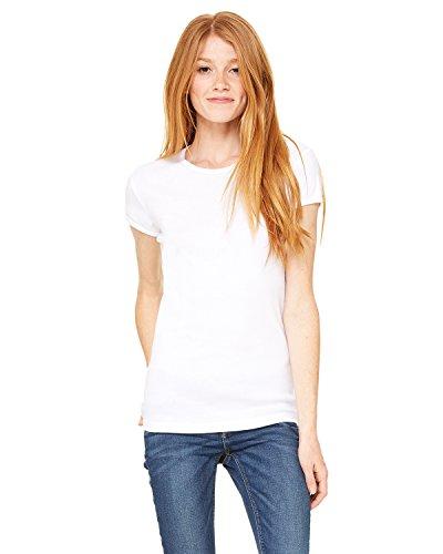 Bella + Canvas Ladies Stretch Rib Short-Sleeve T-Shirt, Small, WHITE