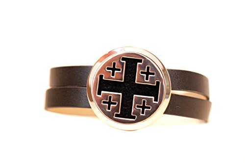 The Oil Collection Rose Gold Essential Oils Diffuser Wrap Bracelet (Stainless Steel) (Brown Leather - Cross)