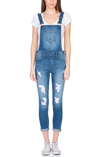 Cello Jeans Distressed Skinny Hipster Overalls - Hipster Womens Jeans