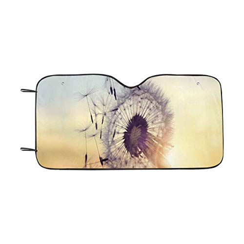 INTERESTPRINT Dandelion Silhouette Against Sunset with Seeds Windshield Sun Shades Block UV, Protect Your Car from Sun Heat