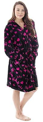 Verabella Womens Winter Soft Plush Long Sleeve Hooded Bath Lounge Robe