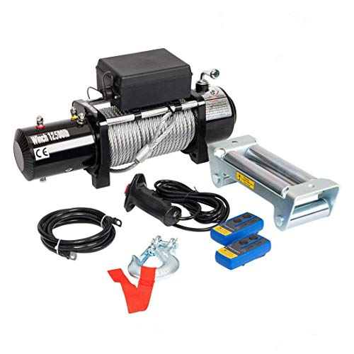 Electric Winch Recovery 12V 12500lbs Winch Trailer Truck SUV with Wireless Remote Control Kit