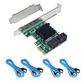 Ziyituod SATA Card, 4 Port with 4 SATA Cables, 6 Gbps SATA Controller PCI Express Expression Card with Low Profile Bracket, Boot as System Disk, Non Raid, Support 4 SATA 3.0 Devices(SA3004)