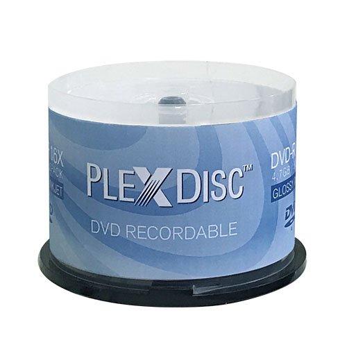 PlexDisc 16X 4.7GB Glossy White Inkjet Hub Printable DVD-R - 50 Disc - 632-514 by PlexDisc