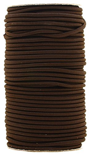 Mandala Crafts Long Colored Bungee Elastic Cord Round Stretch Shock Rope Roll, Various Size 1/8 5/32 3/16 1/4 (3MM(164 FT or 50 Meters Long), Brown)